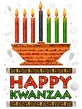 Lyckliga Kwanzaa hälsningar för beröm av skörden för afrikansk amerikanferiefestival Arkivbilder