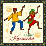Lyckliga Kwanzaa hälsningar för beröm av skörden för afrikansk amerikanferiefestival Royaltyfria Bilder