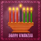 Lyckliga Kwanzaa hälsningar för beröm av skörden för afrikansk amerikanferiefestival Royaltyfri Foto