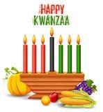 Lyckliga Kwanzaa hälsningar för beröm av skörden för afrikansk amerikanferiefestival Arkivfoto