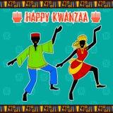Lyckliga Kwanzaa hälsningar för beröm av skörden för afrikansk amerikanferiefestival Royaltyfria Foton