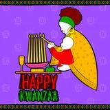 Lyckliga Kwanzaa hälsningar för beröm av skörden för afrikansk amerikanferiefestival Royaltyfri Fotografi