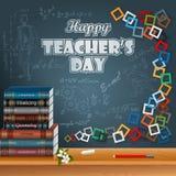 Lyckliga lärares dag designmall royaltyfri illustrationer