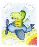 Lyckliga le Dragon Cartoon Character i flygplan Dragen illustration för vattenfärg hand vektor illustrationer