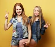 Lyckliga le nätta tonårs- flickor eller vänner arkivfoton