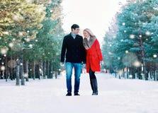 Lyckliga le par som tillsammans går och att ha gyckel i vinterskog royaltyfria bilder