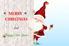 Lyckliga le Santa Claus som står bak ett tomt tecken som visar ett stort trätecken klaus santa för frost för påsekortjul sky vektor illustrationer