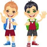 Lyckliga le skolungdompojkar för vektor Royaltyfria Bilder
