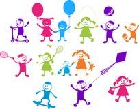 Lyckliga leka barn vektor illustrationer