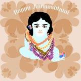 Lyckliga lilla Krishna i färger Arkivfoton