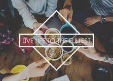Lyckliga Live Life Enjoyment Relax Concept Arkivfoton