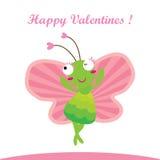 Lyckliga lyckliga valentin buttefly Arkivfoton