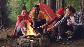 Lyckliga män och den olika gruppen för kvinnor lagar mat mat på brand på campingplatssammanträde runt om lägereld, och innehavet  stock video