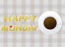 'Lyckliga måndag' bokstäver och en kopp kaffe på grå tygbakgrund stock illustrationer