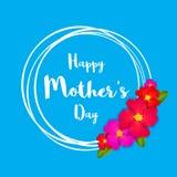 lyckliga mödrar för dag Det rosa blom- hälsningkortet med gruppen av vårblommor semestrar blå bakgrund Arkivbild