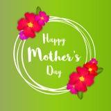lyckliga mödrar för dag Det rosa blom- hälsningkortet med gruppen av våren blommar Arkivfoton