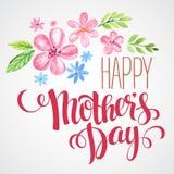lyckliga mödrar för dag hand-dragit kort vektor royaltyfri illustrationer
