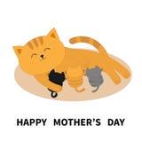 lyckliga mödrar för dag matande kattungar för katt Mammapott som lägger på golvet och vårdar små katter Mjölka matning Amma det ä royaltyfri illustrationer