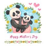 lyckliga m?drar f?r dag Gullig vattenfärgillustration av pandan stock illustrationer