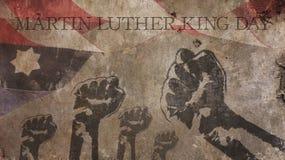Lyckliga Martin Luther King Day Amerika flaggabetong stock illustrationer
