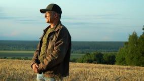 Lyckliga medelåldersa leenden för en man, medan stå på ett vetefält som beundrar naturen runt om honom på en sommardag arkivfilmer