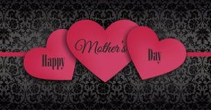 Lyckliga moders dag överlappande serie av röda hjärtor Arkivbild
