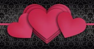 Lyckliga moders dag överlappande serie av röda hjärtor Fotografering för Bildbyråer