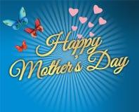 Lyckliga moders dag, fjärilar och hjärtor planlägger med guld- bokstäver Royaltyfri Bild