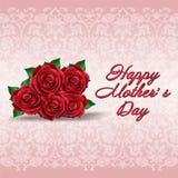 Lyckliga moders dag rosdesign Arkivfoton