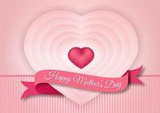 Lyckliga moders dag som drar koncentriska hjärtor Arkivfoto