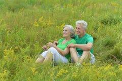 Lyckliga mogna par i sommar parkerar royaltyfri bild