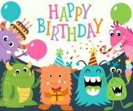 lyckliga monster för födelsedag Royaltyfri Bild