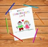 Lyckliga morförälderdagungar räcker det utdragna hälsningkortet med morfadern och mormodern tillsammans stock illustrationer