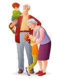 Lyckliga morföräldrar med deras gladlynta barnbarn den främmande tecknad filmkatten flyr illustrationtakvektorn Royaltyfri Bild