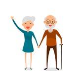 Lyckliga morföräldrar som rymmer händer som står den fulla längden som ler med att gå pinnen Pensionerade äldre höga ålderpar Royaltyfri Foto