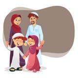 lyckliga muslim för familj vektor illustrationer