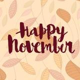 Lyckliga November calligraphic vektorinskrift royaltyfria foton