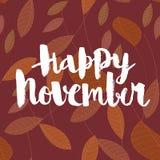 Lyckliga November calligraphic vektorinskrift arkivbilder