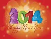 2014 lyckliga nya år av hästen med snöflingor B Arkivbild