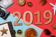 2019 lyckliga nya år bakgrundsfärger semestrar röd yellow arkivbild