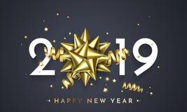 2019 lyckliga nya år blänker det guld- vektorkortet vektor illustrationer