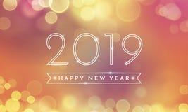 2019 lyckliga nya år blänker det ljusa vektorkortet royaltyfri illustrationer
