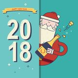 2018 lyckliga nya år firar kortet med Santa Claus och en flaska av champagne Arkivbild