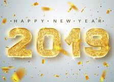 2019 lyckliga nya år Guld- nummerdesign av hälsningkortet av fallande skinande konfettier Guld- glänsande modell Lyckligt nytt… ö royaltyfri illustrationer