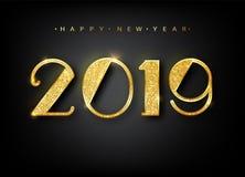 2019 lyckliga nya år Guld- nummerdesign av hälsningkortet Guld- glänsande modell Baner för lyckligt nytt år med 2019 nummer arkivbilder