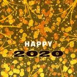 Lyckliga 2020 nya år hälsningkort med guld- ljus och mousserar royaltyfri bild