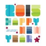2015 lyckliga nya år Hälsningkortdesign idérika pappers- stilsorter Arkivfoto