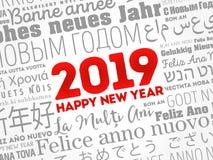 2019 lyckliga nya år i olika språk vektor illustrationer