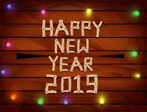2019 lyckliga nya år med bokstäver och nummerträ på träbakgrund stock illustrationer