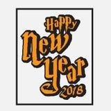 Lyckliga nya år 2018 med den färgsvart och apelsinen Arkivfoto